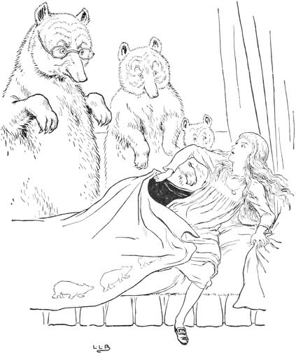 Goldilocks caught in Baby Bear's bed – by Leonard Leslie Brooke