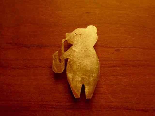 熊 クマさん 真ちゅう ブローチ 観光スポット 京都手づくり市 岐阜手づくり市にて販売