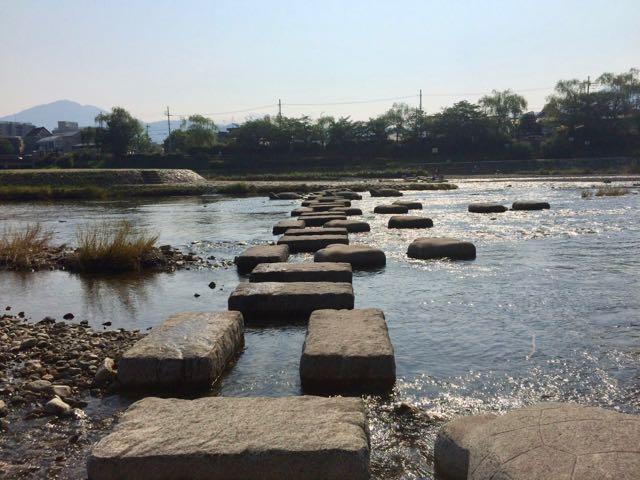鴨川、高野川合流デルタ 石渡り