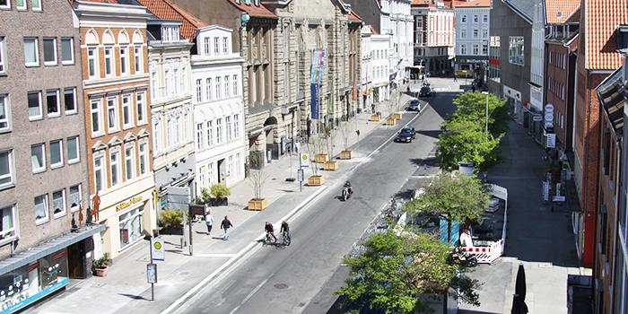 Der Verkehrsversuch in der Beckegrube im Mai 2020 (Foto: Sebastian Krabbe)