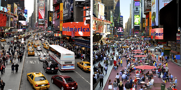 Vorher und nachher: Broadway - Times Square    ©New York City Department of Transportation · CC BY-NC-ND 2.0 · www.flickr.com/photos/nycstreets/9138010840