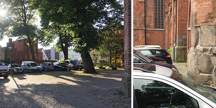 Das nahezu alltäglich gewordene Bild parkender Autos auf Lübecker Kirchhöfen