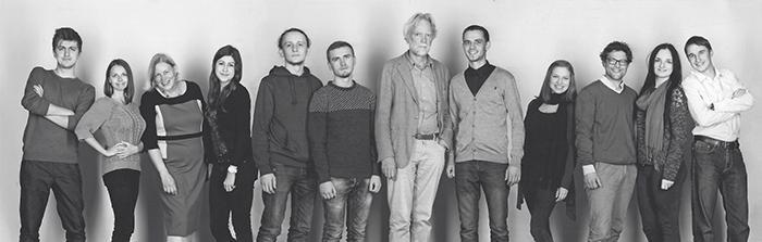 Praktikanten aus Czernowitz mit Eva Albota (Vorstand im ArchitekturForumLübeck e.V. bis 2019 (AFL)), Klaus Brendle (AFL und TH Lübeck) und Prof. Tobias Mißfeldt (TH Lübeck)  ·  Foto Anja Doehring