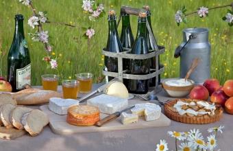 Produits de normandie : cidre, neufchatel, camembert, pont l'évêque, livarot, crème fraiche