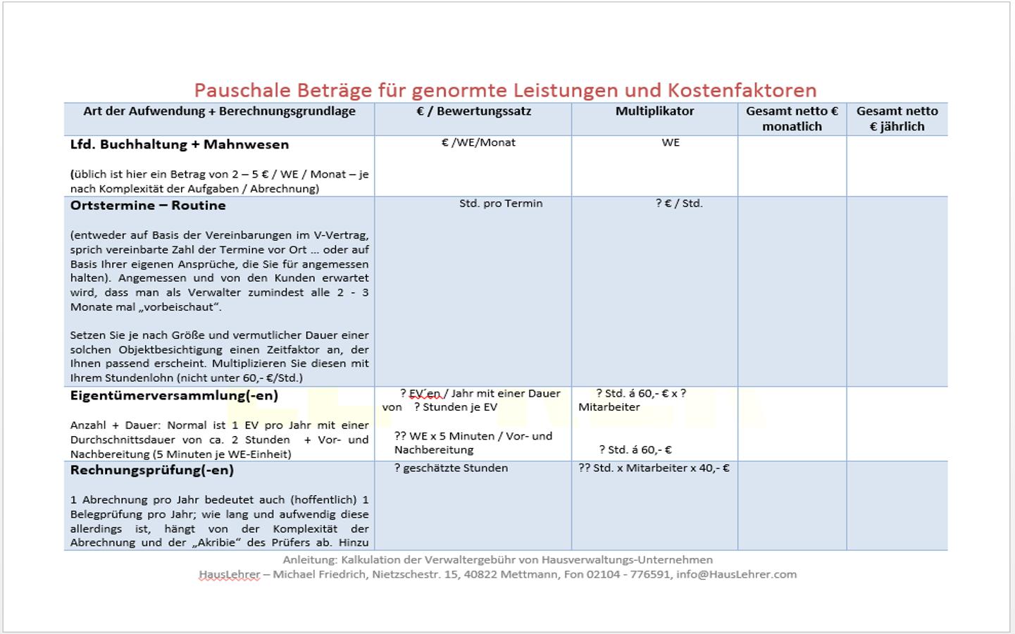 Kalkulation Verwaltergebühr Produkte Vorlagen Muster Co Für