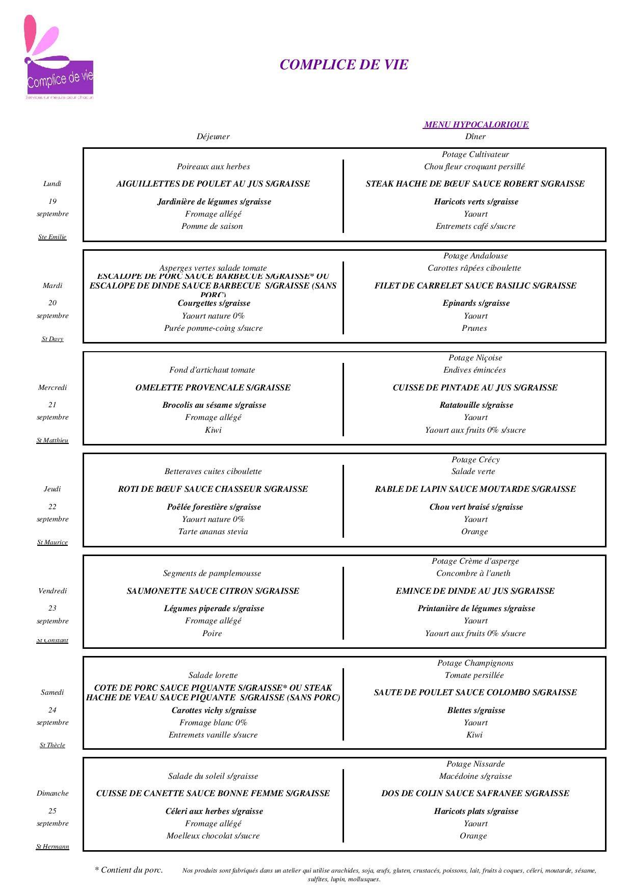 menu hypocalorique