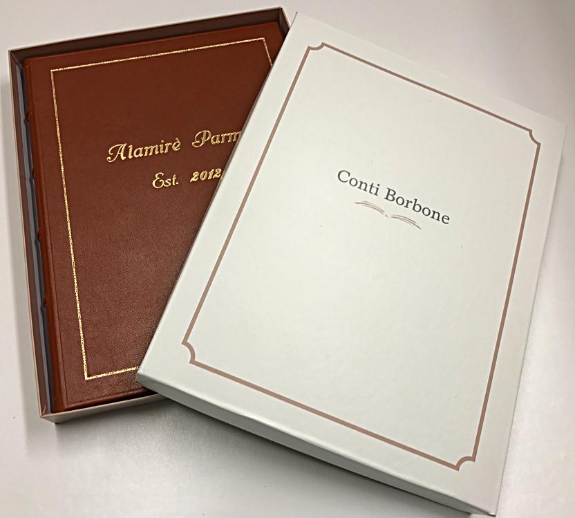 libri firma in pelle su misura personalizzati conti borbone