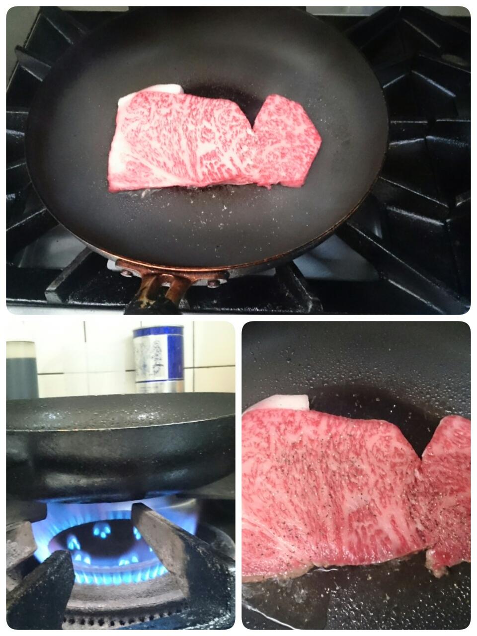 室温に戻したお肉を、よく熱したフライパンに乗せます 。火は中火で、そこで塩コショウをふってください