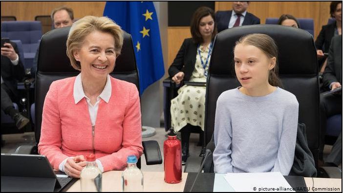 Image: Panic or Green Deal? - Brussels,  March 4, 2020 - Ursula von der Leyen and Greta Thunberg
