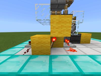 レッドストーンのたいまつと信号を伝えるブロックの配置