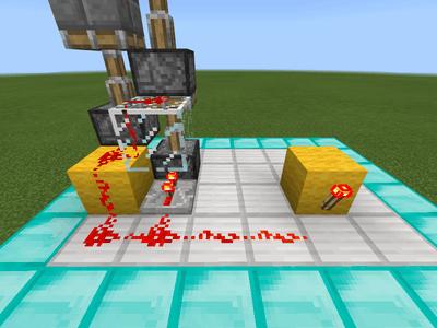 信号を伝えるブロックにレッドストーンのたいまつを設置