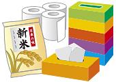 ティッシュ、トイレットペーパー、米のイメージ