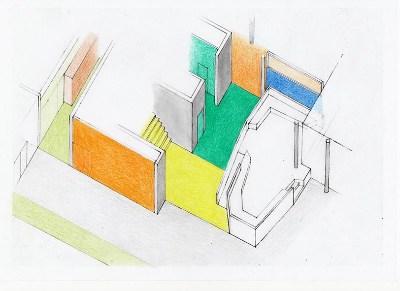 Ebene 0, Lerninsel, Fluchtstiege, Nassräume. Entwurf, Axonometrie.