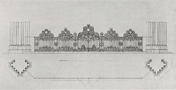 Reconstitution de la grille d'après le dessin et les fragments conservés