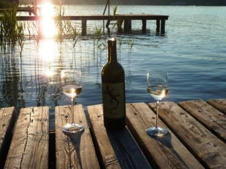 Ein Glas Wein am Steg