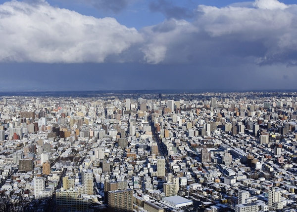 Sapporo city seen from the top of Maruyama
