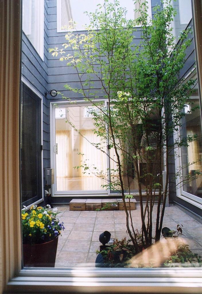 Kさんの家(柏市)中庭からリビングを望む