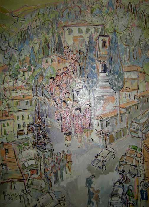 Asilo nido 70 x 100 Acrylic sur toile  1800€