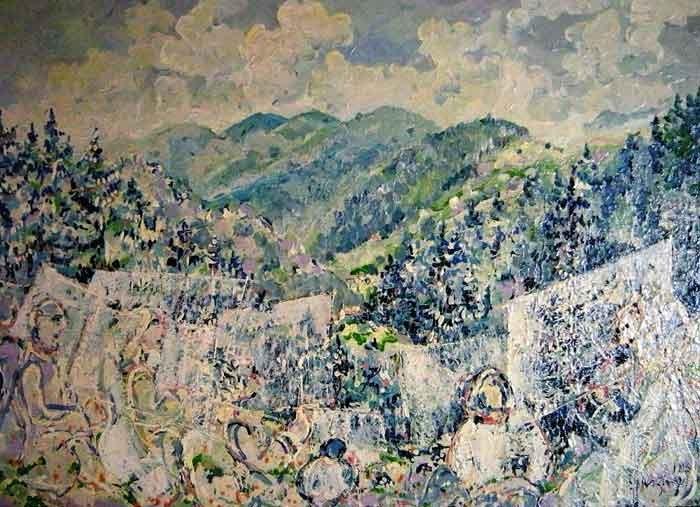 Ecole de peinture 50 x 68  Huile sur toile  800€