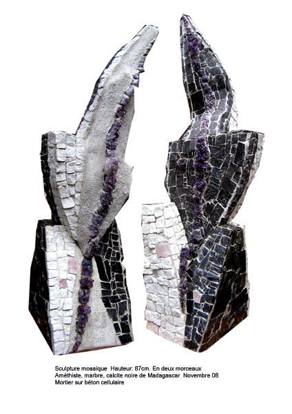 Enchassement 2 Hauteur 87cm.Améthiste marbre calcite noire 1400€