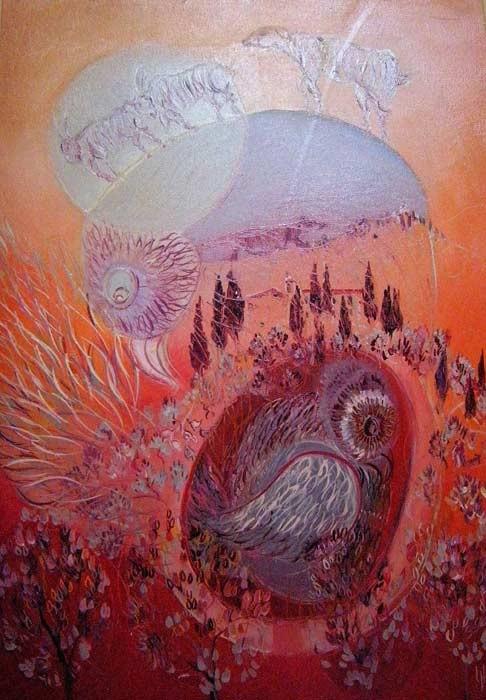 Histoire d'oiseaux 50 x 70 Huile sur toile  900€