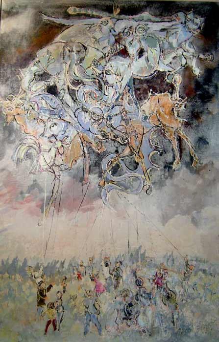 Cerfs volants 100 x 150 Acrylic sur toile   1800€