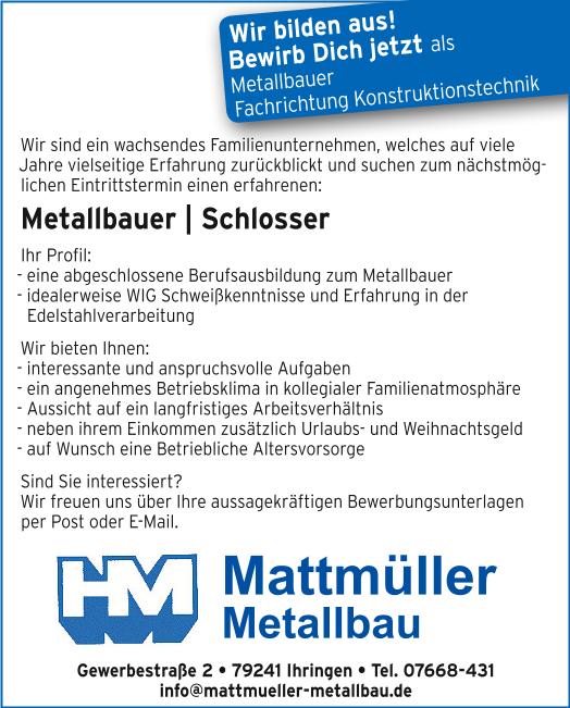 Wir stellen ein: Metallbauer / Schlosser  ---  Wir bilden aus!  Bewirb Dich jetzt als Metallbauer Fachrichtung Konstruktionstechnik