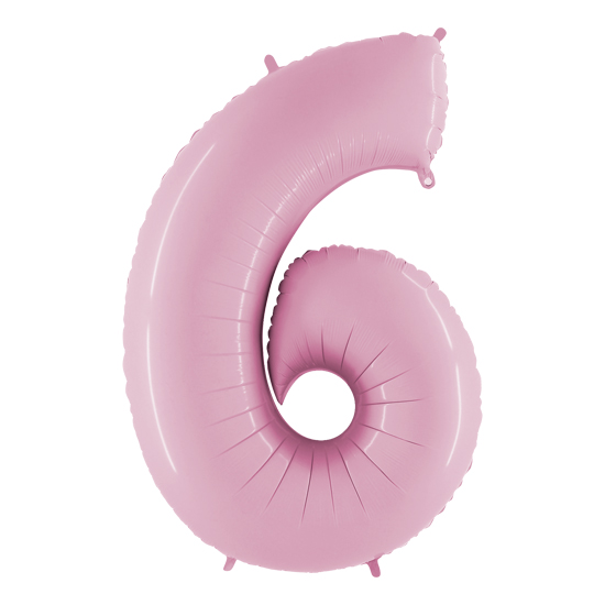balon cyfra 6 różowa