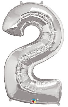 balon cyfra 2 srebrna