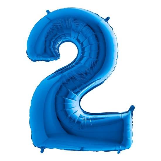balon cyfra 2 niebieska
