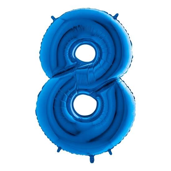 balon cyfra 8 niebieska