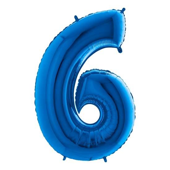 balon cyfra 6 niebieska