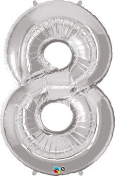 balon cyfra 8 srebrn