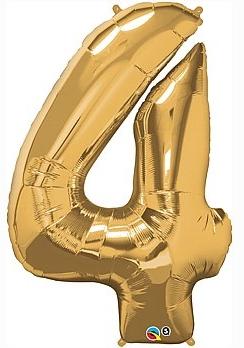 balon cyfra 4 złota