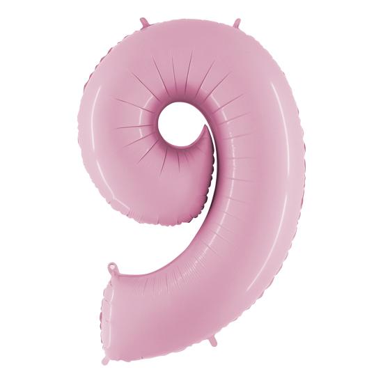 balon cyfra 9 różowa