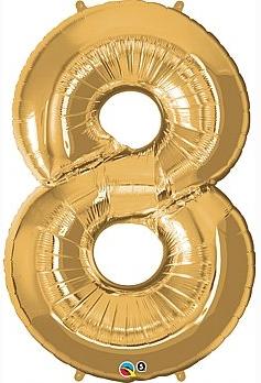 balon cyfra 8 złota