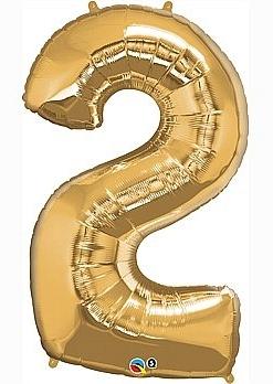 balon cyfra 2 złota