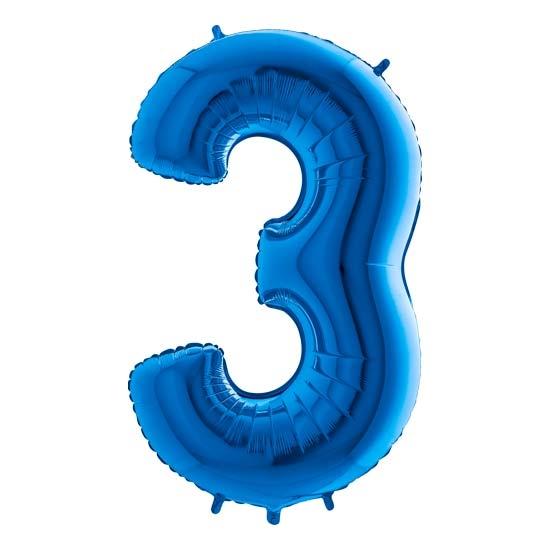 balon cyfra 3 niebieska