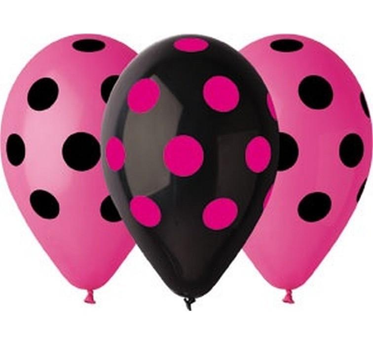 Balon grochy czarno-różowy 2 zł / szt lub 5 zł z helem