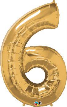 balon cyfra 6 złota