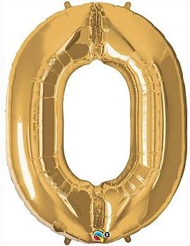 balon cyfra 0 złota