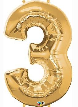 balon cyfra 3 złota