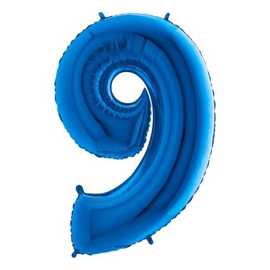 balon cyfra 9 niebieska
