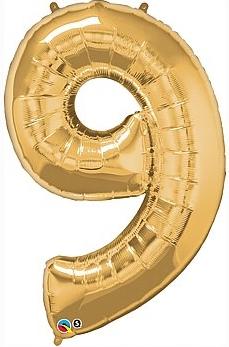 balon cyfra 9 złota