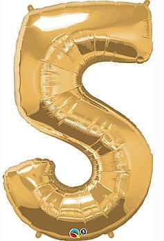 balon cyfra 5 złota
