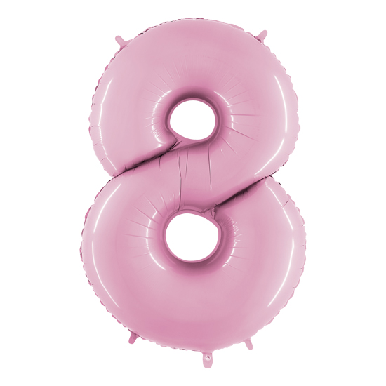 balon cyfra 8 różowa