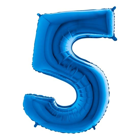 balon cyfra 5 niebieska
