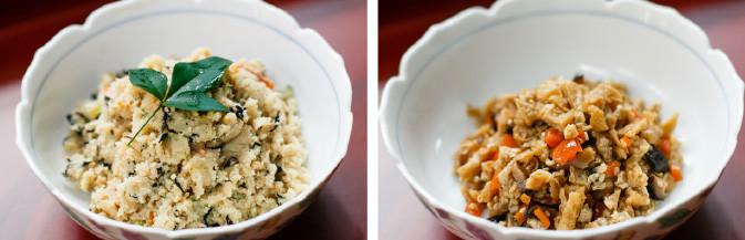 寄せ豆腐、寄せごま豆腐、寄せゆず豆腐、おから煮、油揚げの佃煮 など2