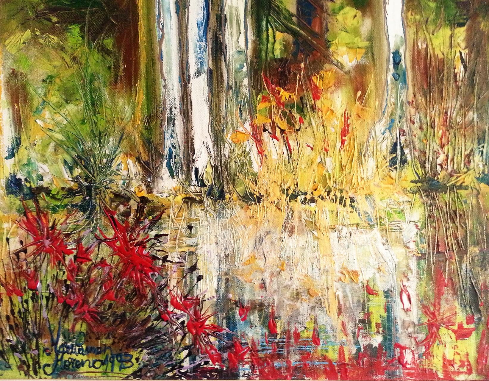 """VENDIDO. Carmen Moreno. """"Río alemán"""", óleo sobre lienzo, 50 x 40 cm., 1993."""