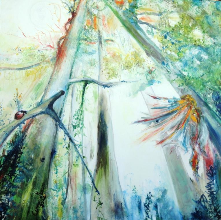 "VENDIDO. Carmen Moreno. ""El Rey Mono sentado en un árbol mirando al sol"". ""The Monkey King sitting on a Tree watching the sun"", Oil on Canvas, 100 x 100 cm., 2012"